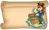 image of treasure chest  - Old scroll with pirate girl  - JPG