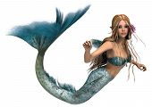 stock photo of fairy tail  - 3D digital render of a cute mermaid isolated on white background - JPG