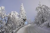 stock photo of snowy hill  - Snowy winter road in the Giant Mountains - JPG