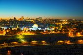 picture of aqsa  - Overview of Old City in Jerusalem Israel with The Dome of the Rock Mosque - JPG