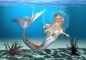 picture of fairy tail  - 3D digital render of a cute mermaid on blue fantasy ocean background - JPG