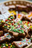 stock photo of ginger-bread  - Traditional Christmas colorful home made ginger bread - JPG