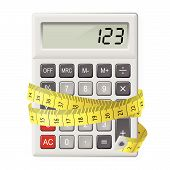 pic of numbers counting  - White calculator with measuring tape as symbol of counting calories - JPG