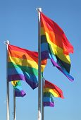 stock photo of gay flag  - Rainbow colored Gay Pride Flags flutter in the wind in Vancouver - JPG