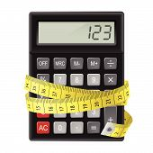 stock photo of numbers counting  - Black calculator with measuring tape as symbol of counting calories - JPG