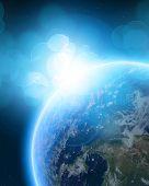 Постер, плакат: Голубая Планета Земля в космическом пространстве
