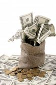 pic of bundle money  - Canvas money sack with one hundred dollar bills - JPG