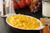 picture of glass noodles  - Macaroni and cheese with a glass of milk - JPG