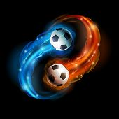 picture of fireball  - Soccer ball in flames and lights against black background - JPG