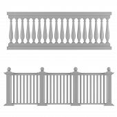 stock photo of balustrade  - Classic balustrade isolated at the white background - JPG