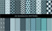 stock photo of blue  - 20 Retro different vector seamless patterns  - JPG