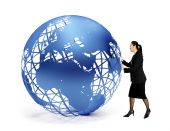 Business Woman With A Globe
