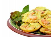 stock photo of mung beans  - Vietnamese pancake served with vegetable shrimp yellow mung bean and many other ingredients - JPG