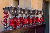 stock photo of shisha  - Shisha pipes hookah on the streets of the Old Town in Dubai - JPG