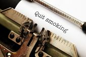 pic of gruesome  - Close up of Quit smoking text on typewriter - JPG