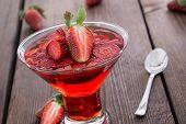 image of jello  - Fresh made Strawberry Jello with fresh fruits - JPG