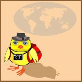 image of siluet  - Cute chicken with a backpack and a camera in cartoon stile - JPG