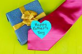 picture of stereotype  - Happy Fathers Day tag with gift boxes and tie - JPG