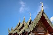 stock photo of gable-roof  - Gable apex emblazoned on the roof of the temple Thailand - JPG