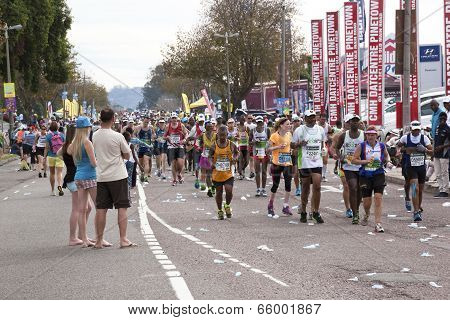 Spectators Watching Runners Pass At Comrades Ultra Marathon