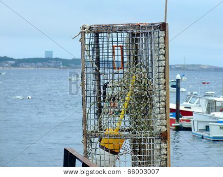 Lobster trap on a dock