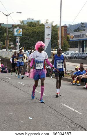 Colorful Runner Competing In Comrades Ultra Marathon