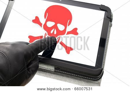 Online Mobile Hacking Concept With Hand Wearing Black Glove Pointing A Touch Screen