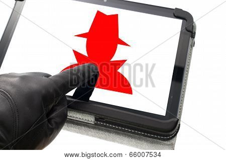 Online Mobile Spyware Concept With Hand Wearing Black Glove Pointing A Touch Screen