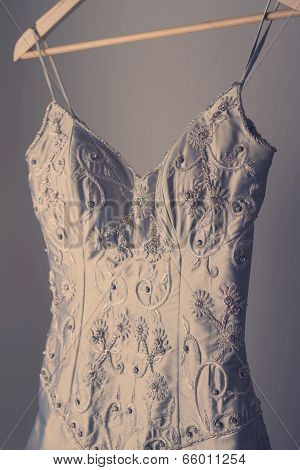 Stunning Vintage Wedding Dress On A Hanger