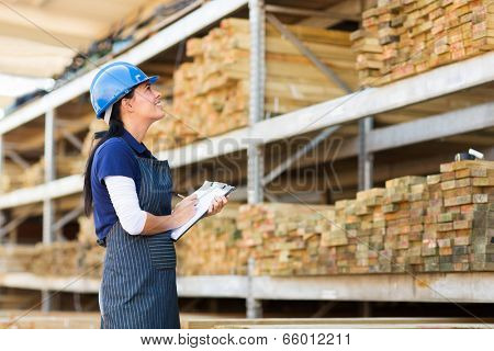 gorgeous female worker stock taking in warehouse
