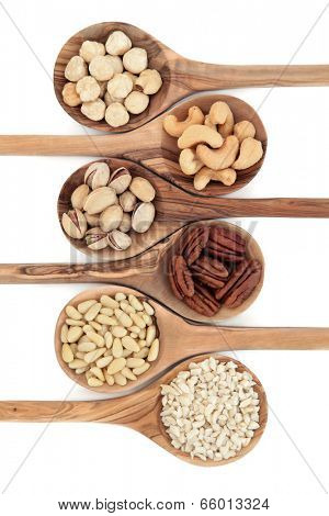 Nut varieties of hazelnut, cashew, pistachio, pecan, pine kernel and chopped almonds in olive wood spoons over white background. Top to bottom.