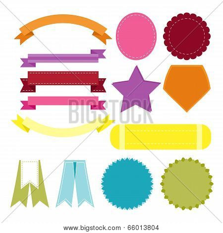 Design Flat Color Banners On White Background