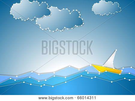 Concept schematic sea view background. Vector design