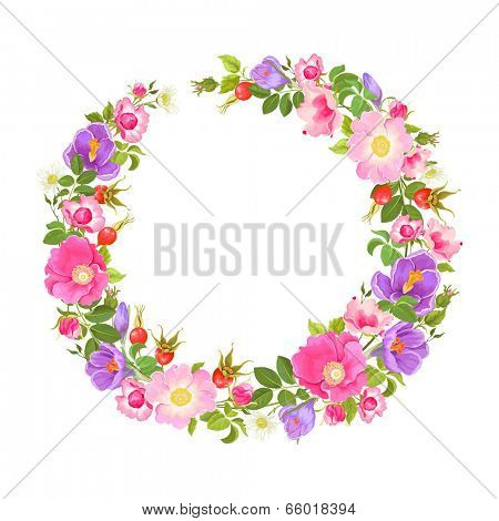 Wreath with flowers and rose hips, crocuses and chamomiles.