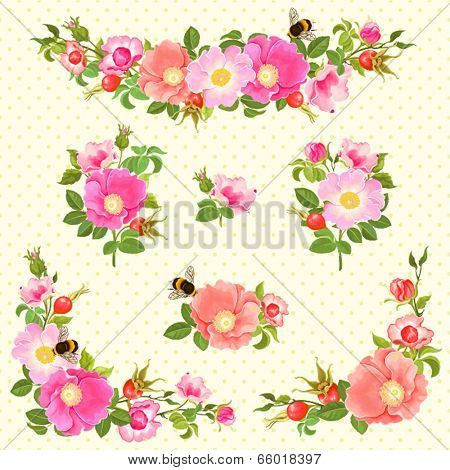 Decorative ornaments with flowers and rose hips and bumblebees.