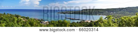 Jamaica. The sea in the sunny day and mountains panorama