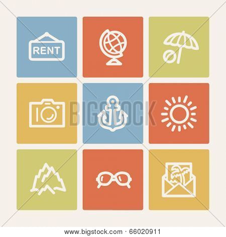Travel web icon set 5, color square buttons