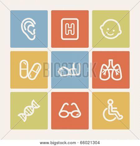 Medicine web icon set 2, color square buttons
