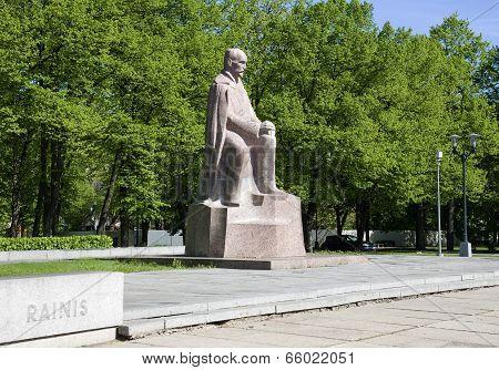 Riga. Monument To The Latvian Writer And Poet Rainis.