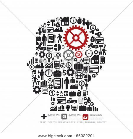Elements Are Small Icons Finance Make In Man Think With Gear Concept .vector Illustration.