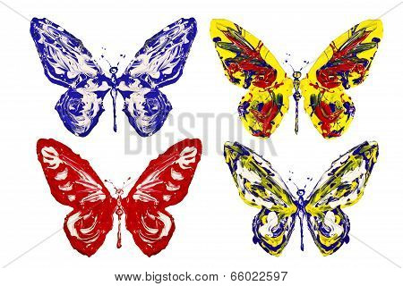 Red Blue White Yellow Paint Made Butterfly Set