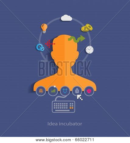 Idea Incubator Flat Design Concept Template With Icons