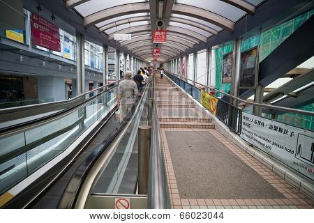 HONG KONG - NOVEMBER 1, 2011: The Central-Mid-Levels escalator and walkway system in Hong Kong is the longest outdoor covered escalator system in the world (800 m). It was constructed in 1993.