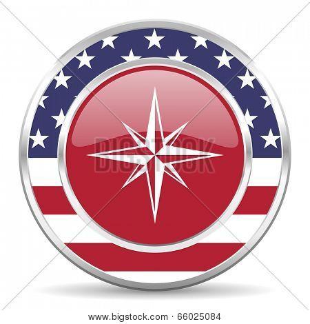 compass american icon, usa flag