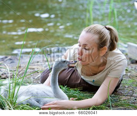 The young woman near a baby bird of a swan on the bank of the lake