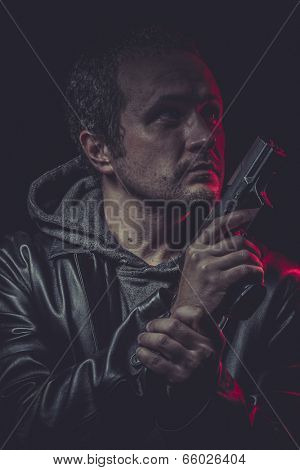 Crime, Assassin, man with black coat and gun