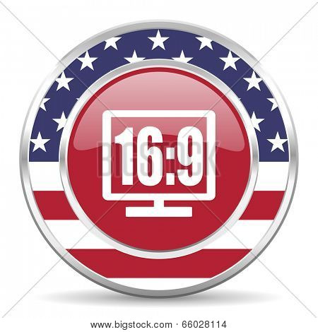 16 9 display american icon, usa flag