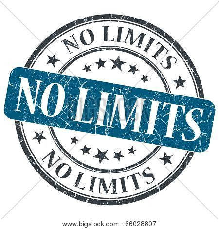 No Limits Blue Round Grungy Stamp Isolated On White Background