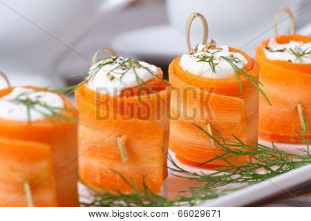 Useful Appetizer Carrot Rolls With Cheese Closeup