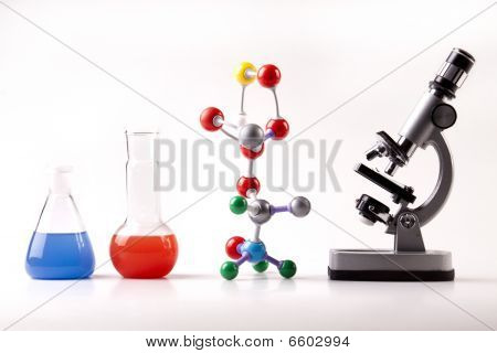 Chemistry, Molecular Chain and Flasks and Microscope